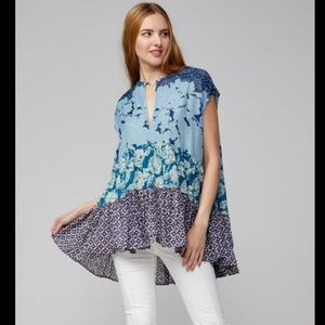 Free People Blue Floral Gotta Have You Tunic Top